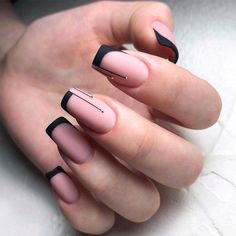 Accent Nails: Punch Up Your Mani in 10 Easy Ways - Black Color On Classic Nails. - Accent Nails: Punch Up Your Mani in 10 Easy Ways – Black Color On Classic Nails… - Black French Nails, French Acrylic Nails, French Tip Nails, French Tips, Nail French, Black Nail Tips, French Tip Design, Black Nails, White Nails