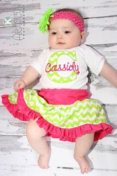 Chevron Personalized Baby Girl Clothes Newborn Gril Take Home Outfit One-Piece Skirt and Headband Gift Set Monogrammed Baby Girl Outfit by sassylocks on Etsy https://www.etsy.com/listing/185172253/chevron-personalized-baby-girl-clothes