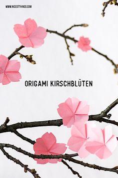 Origami Kirschblüten basteln DIY Kirschblüten falten #origami #kirschblüten #cherryblossom #sakura #diy