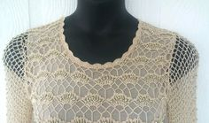 Beige Gold Beaded Long Sleeve Dressy Mesh Blouse JOANNA Size Small #Joanna #Blouse