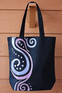 SALE - Pink and Purple Swirles Tote Bag Book Bag Beach Bag by ibleedheART, $15.00 Painted Canvas Bags, Canvas Tote Bags, Diy Gifts For Girlfriend, Crochet Shoulder Bags, Jute Bags, Tote Pattern, Fabric Bags, Quilted Bag, Cotton Bag