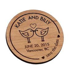 Love Birds Save the Date Wood Cut