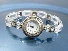 Stretchy Bracelet Watch - Petite Clear Rock Crystal Quartz Stretchy Watch with Swarovski Crystal Accents Faceted Crystal, Quartz Crystal, Beaded Bracelet Patterns, Beaded Bracelets, Crystal Rhinestone, Swarovski Crystals, Jewelry Sets, Jewelry Making, Beaded Watches
