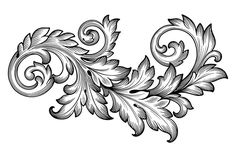 Download Vintage Baroque Foliage Floral Scroll Ornament Vector Stock Vector - Illustration: 50237183