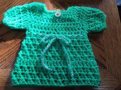 Acrylic Handmade Crochet Dress/Top _ S/Sleeve _ Green  _ 3 to 6 months #Handmade #DressyEverydayHoliday