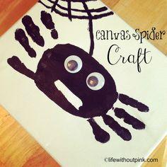 Canvas Spider Halloween Craft #halloween #craft