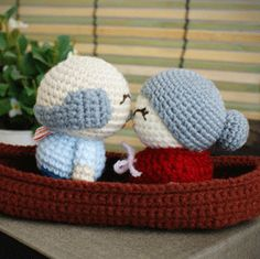 old couple in love boat doll [DL-grandy] : saplanet originals, handcrafted amigurumi and wedding favors