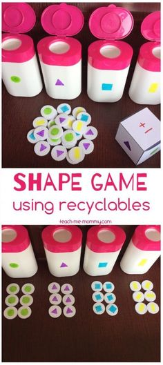 Shapes Game from Recyclables. Fun DIY game for kids! Shapes Game from Recyclables. Fun DIY game for kids! The post Shapes Game from Recyclables. Fun DIY game for kids! Preschool Learning, Educational Activities, Preschool Activities, Nursery Activities, Educational Websites, Fun Learning, Recycling For Kids, Diy For Kids, Crafts For Kids