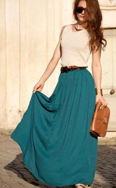 Teal Maxi Skirt Available in all sizes FREE SHIPPING by kdorset, $56.00