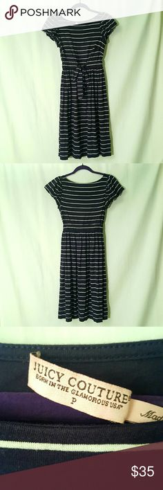 🎉HP🎉 Size P Juicy Couture Navy Striped Dress This listing is for a Juicy Couture navy & white striped dress. It features a tie around the waist and ruffled sleeves. There were a few loose threads and the tag is ripped off halfway (with no damage to the dress), otherwise it's in great condition.  Condition is 9/10.  #022 Juicy Couture Dresses