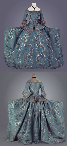 Front and rear views of a Court dress, Spain, mid-18th century, two pieces - coat and skirt, of silk brocade fabric with white ribbed patterns and motifs made with three types of background silver metallic thread and blue silk. Centre de Documentació i Museu Tèxtil - CDMT