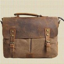 Genuine Leather Canvas cross- body bag / Briefcase / Messenger bag / 14' Laptop…