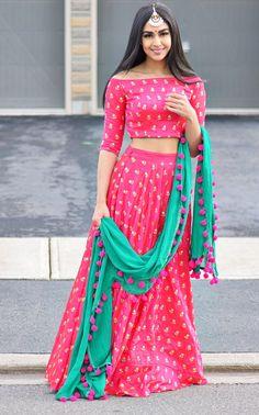 Hot pink and emerald green pompom dupatta lehenga