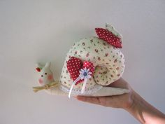 Fabric Snail Tilda doll  with heart  birthday gift  by LyuToys