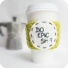 Funny travel mug cozy coffee tea chartreuse Epic crochet ...