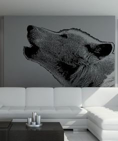 Vinyl Wall Decal Sticker Wolf Howling #5478 | Stickerbrand wall art decals, wall graphics and wall murals.