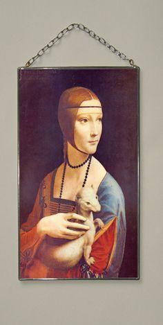 """Leonardo da Vinci. Lady with an ermine. 125 x 100 mm (5"""" x 4"""") Glass-pasteboard window-pane with copy from artwork by Leonardo da Vinci"""
