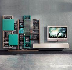 Parete attrezzata TV moderno / in legno laccato / in olmo SIDE 6  Fimar Srl