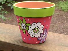 Handpainted Lime Green and Pink Terra Cotta Planter Pot Painted Clay Pots, Painted Flower Pots, Hand Painted, Flower Pot People, Clay Pot People, Flower Pot Crafts, Clay Pot Crafts, Ceramic Pots, Terracotta Pots