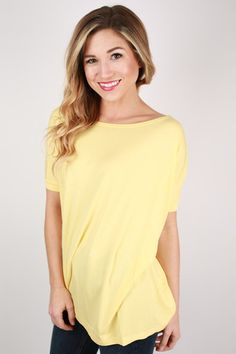 PIKO Short Sleeve Tee Pastel Yellow | Impressions Online Women's Clothing Boutique