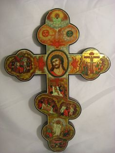 Hand Painted Russian Icon Cross with the Life of Christ, from The Holy Land, Jerusalem, Christian Art, Vintage, Religious. $500.00, via Etsy.