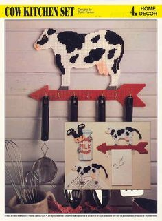 Free Plastic Canvas Butterfly Patterns   COW KITCHEN SET plastic canvas pattern by puddinpop on Etsy