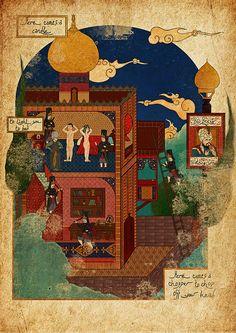 1984 - George Orwell, miniature by Murat Palta Mughal Paintings, Islamic Paintings, Old Paintings, Urban Design Diagram, Le Palais, Design Museum, Antique Maps, Figure Painting, Islamic Art