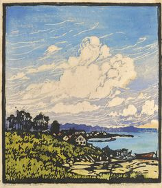 Fishermen's Cove, 1923 by Frances Hammell Gearhart (b. 1869-1958), Californian artist (occasionally taught by Charles H. Woodbury) known for her colour woodcuts of the Sierras, the Pacific Coast, and the area around Big Bear Lake. She described sentinel trees, groves of eucalyptus, pines, oaks and Monterey cypress as well as valleys and canyons. http://www.francesgearhart.com/ Tags: Helen Elstone, Sky, Clouds, Village, Grass, Trees, Distance