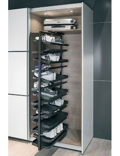 Wardrobe Tall Pivoting Stackable Shoe Rack Takes up to 50 Pairs 80622401 Shoe Rack Pull Out, Best Shoe Rack, Diy Shoe Rack, Shoe Rack With Shelf, Shoe Racks, Shoe Wardrobe, Wardrobe Storage, Shoe Storage, Locker Storage