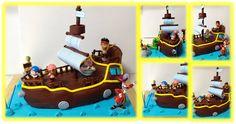 Bolo Barco do Jake e os piratas