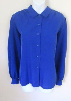 Vintage 80s Size L Blouse Royal Blue Long Sleeve by MrsDinkerson