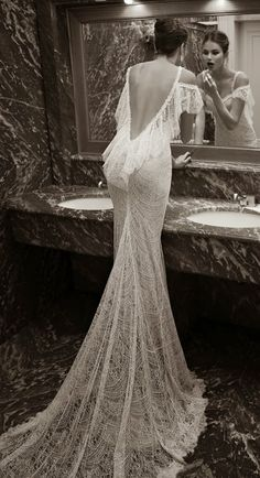 Berta Bridal Winter 2014 Collection Oddly, I'd love to see this wedding gown styled in a gothic way. It reminds me of cobwebs! Berta Bridal, Bridal Gowns, Wedding Gowns, Wedding Bride, Backless Wedding, Backless Gown, Gothic Wedding, Wedding Night, Bridal Lace