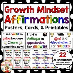{50% off- 24 hrs} Growth Mindset Affirmations - Posters, Cards, and Printables