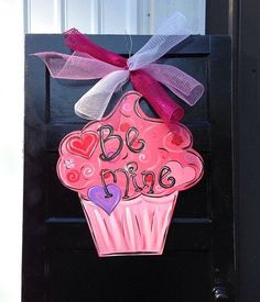 Valentine Cupcake design Door Hanger