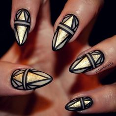 aztec black with gold nails bmodish They say Aztec, but I see Art Deco. Go to a Gatsby party wearing this with a flapper dress