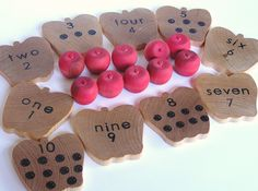 Waldorf- Montessori- Educational Natural Wood Toy- Counting Apples- Math Set. $25.00, via Etsy.