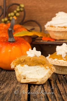 ArtandtheKitchen: Pumpkin Cheesecake Tarts, no bake cheesecake layer topped with a delicious pumpkin pie layer.