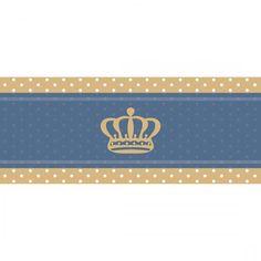 Faixa Decorativa Coroa em Bege Sobre Fundo Com Bolinhas em Tons de Azul com Bordas Bege 1