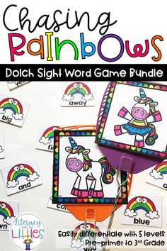 Differentiate easily with the bundle.  It includes the Chasing Rainbows game in 5 different Dolch sight word lists.  From Pre-Primer up to 3rd grade.  This lets everyone join in on this exciting sight word slap game at their own level.