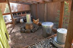 Clean Coop Tips. One secret is raised water with a neat stone-apron surround, feed served up off the ground, lots of good clean litter, fresh air (look at all the hardware cloth!) and room to strut.