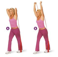 2 Moves That Target Underarm Fat! FRENCH PRESS: A. Stand with right foot about 2 feet in front of left (don't lock knees), with the middle of a resistance band under left foot. Grasp ends of band in each hand, and position arms so elbows are bent next to ears and hands are behind head. B. Slowly extend arms over head, keeping elbows next to ears. Then slowly lower back to starting position. Do 15 reps with right foot forward. Switch legs, then anchor band with right foot, and repeat.
