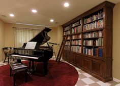 Bethesda Renovation Piano Room and Library traditional-living-room
