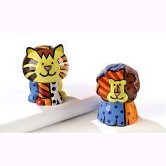 Britto Lion & Tiger Salt & Pepper Shaker Set