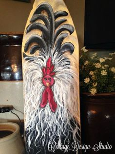 Rooster painting rooster sign funky chicken by CottageDesignStudio Chicken Coop Decor, Chicken Items, Chicken Coop Signs, Chicken And Cow, Rooster Craft, Rooster Painting, Rooster Kitchen, Tole Painting, Chicken Painting