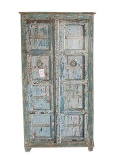 Antique Armoire Reclaimed Blue Patina Storage Indian Furniture