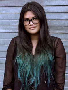 Coloured tips in dark hair! Uh oh, my brain is going crazy for this