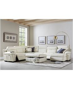 Magnified Furniture Julius II Leather Power Reclining Sectional Sofa Collection with Power Headrests and USB Power Outlet, Created for Macy's image Leather Reclining Sectional, White Sectional, Sectional Sofa With Recliner, Sectional Furniture, Living Room Sectional, Reclining Sofa, Couch Sofa, Leather Recliner, White Leather Sofas