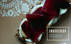 Mince and Type: Smørrebrød. open sandwich made with herbed yogurt cheese, cucumber slices, cooked beets, and balsamic glaze.