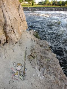 Argo Cascades Park, Ann Arbor, Michigan, USA (July 13, 2013.) - street art by David Zinn