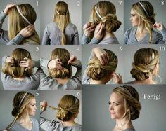 Lockerer Chignon mit Haarband und Haarklammern selber machen
